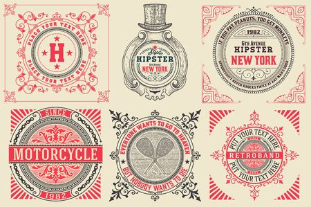 ephemera: Set of Baroque cardslogos with floral details. Elements organized by layers.