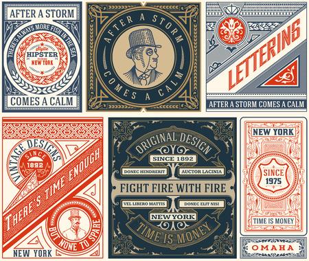 6 diseños Viejo conjunto. Elementos organizados por capas.
