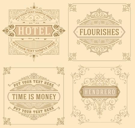 vintage design: Vintage logo templates with Flourishes Elegant Design Elements