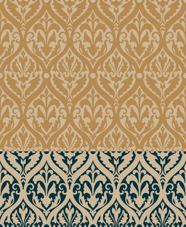 decorative patterns: Baroque Pattern with Floral Details in two colors