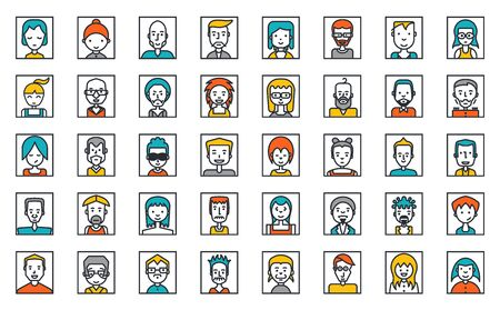 Set of people avatars on white, social network, Flat Style Design.