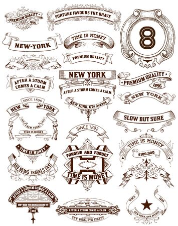 ephemera: 26 Labels and banners. Vector illustration