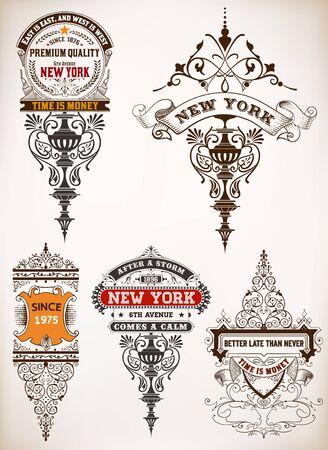 ephemera: Premium Quality insignia set. Baroque ornaments and floral details.