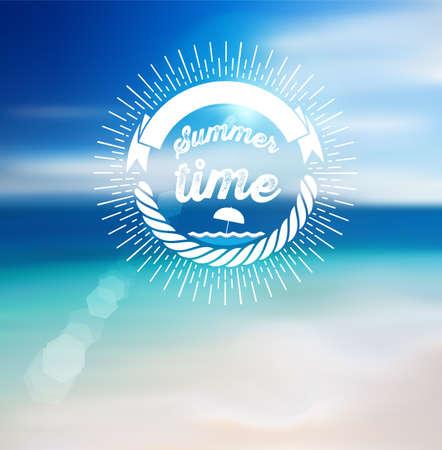 sunshine: Summer Time Design with Blur Beach Background.