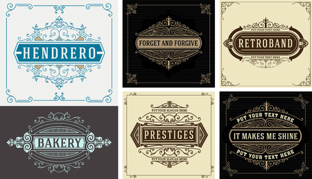 sticker design: Vintage templates. Flourishes Elegant Design Elements. Illustration