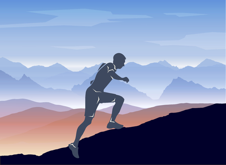 jogging in nature: Sport running man in cross mountain landscape.