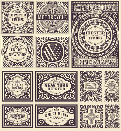 stamp design: Retro cards set. Elements organized by layers.