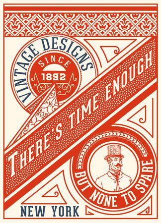 ephemera: Old card design . Elements organized by layers. Illustration