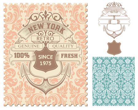 ephemera: Retro stamp, Nautical design Illustration