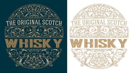 whisky bottle: Whisky retro label Illustration