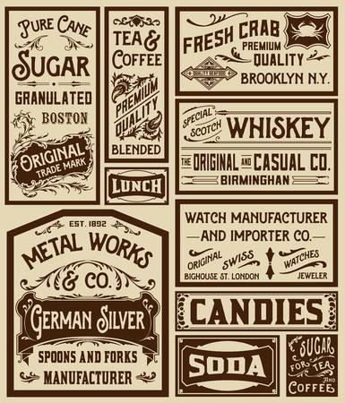 antik: Mega pack alte Werbung Designs und Etiketten - Vektor-Illustration