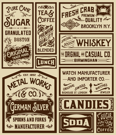 advertisements: Mega pack old advertisement designs and labels - Vector illustration