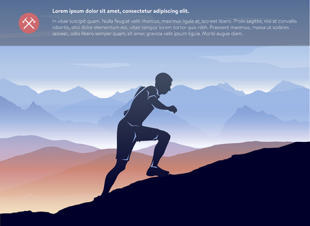 Sport running man in cross mountain landscape template. Vector layered Illustration