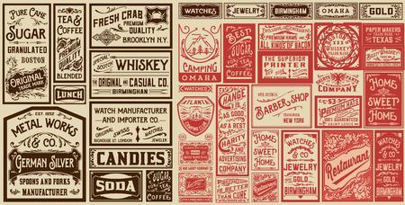 Mega set di vecchi disegni pubblicitari e etichette - Illustrazione vettoriale Vettoriali