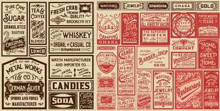 advertisements: Mega set of old advertisement designs and labels - Vector illustration
