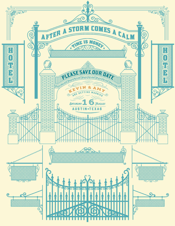 wicket: Wrought iron wicket and Wedding invitation, fence and gates grilles isolated. Vector set