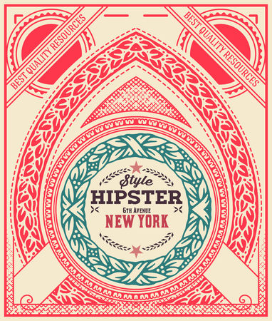 old letter: Hipster card, ornaments and floral details, Layered vector