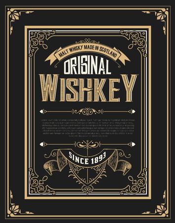 étiquette de whiskey avec de vieux cadres