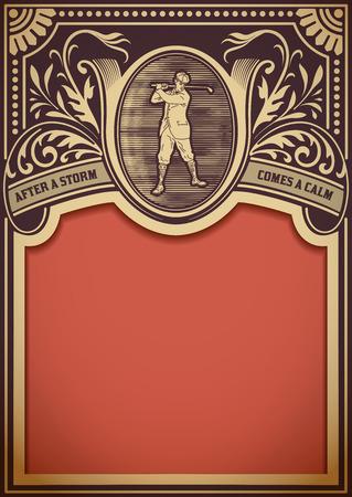 postal: Golf retro card. Organized by layers