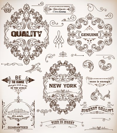 decoration elements: set of design elements: page decoration and baroque frames
