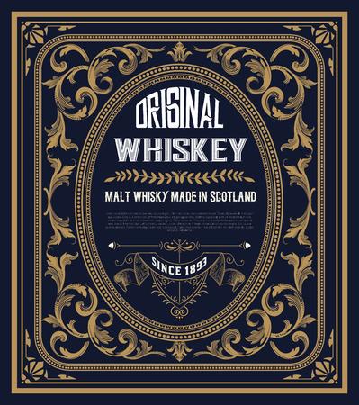 Vintage etykieta na whiskey. Możesz zastosować ten wzór także do innych produktów.