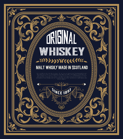 Vintage label for whiskey. You can apply this design for another products too. Vettoriali