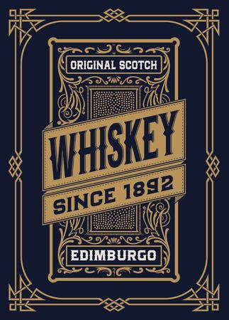 Etichetta Whiskey con i vecchi telai Vettoriali