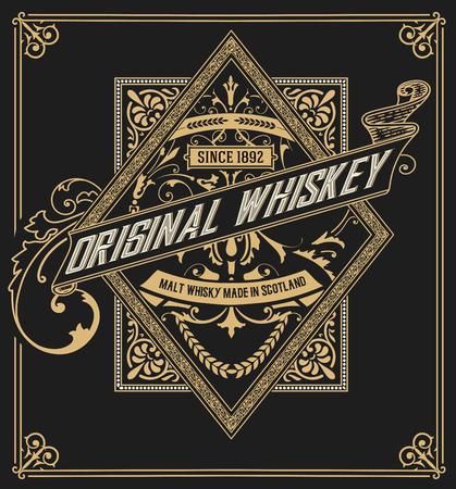 étiquette de whisky avec de vieux cadres. couches vectorielles
