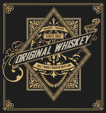 Whiskey label with old frames. Vector layered Illusztráció