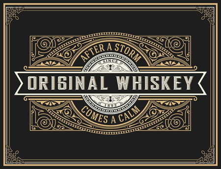 wine background: Old whiskey label.