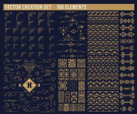 166 elements set. Corners, accents, borders and patterns set Illustration