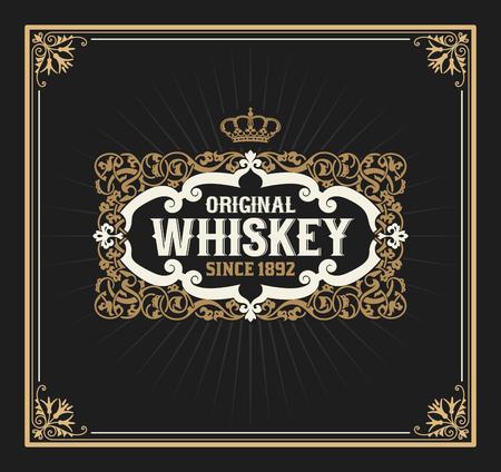 western border: Old  label design for Whiskey and Wine label, Restaurant banner, Beer label. Vector illustration Illustration