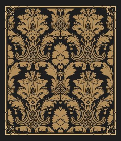 old wallpaper: Old wallpaper pattern with frame Illustration