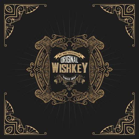 conception de l'étiquette Old Whiskey and Wine étiquette, Restaurant bannière, étiquette de bière. Vector illustration