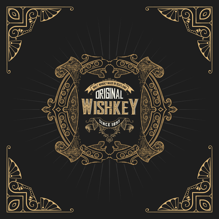 label design: Old  label design for Whiskey and Wine label, Restaurant banner, Beer label. Vector illustration Illustration