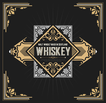 Vintage label design for Whiskey and Wine label, Restaurant banner, Beer label. Vector illustration Illustration