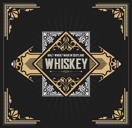 Vintage label design for Whiskey and Wine label, Restaurant banner, Beer label. Vector illustration Vettoriali