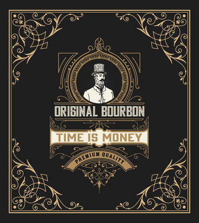 bourbon: Vintage frame and label for whiskey product. You can use it for other products such as Beer, Wine, Shop decoration. Vector illustration Illustration