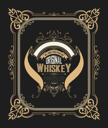 Whiskey label with old frames. Vector layered Illusztráció