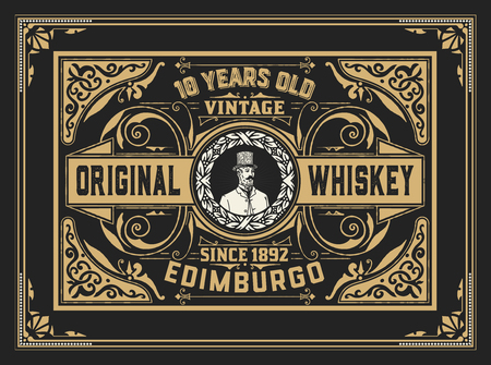Whiskey label with old frames. Vector layered Stock Illustratie