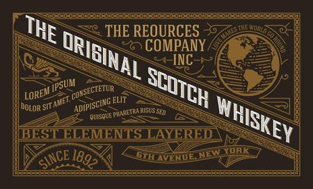 Diseño de la etiqueta de la vendimia para la etiqueta de whisky y vino, banner de restaurante, etiqueta de la cerveza. Ilustración vectorial