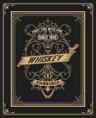 comercial: Vintage design for labels, emblem, banner, sticker. Suitable for whiskey or other comercial products