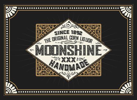 moonshine: Vintage label design for Whiskey and Wine label, Restaurant banner, Beer label.