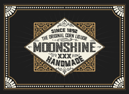 moonshine: Vintage label design for Whiskey and Wine label, Restaurant banner, Beer label.