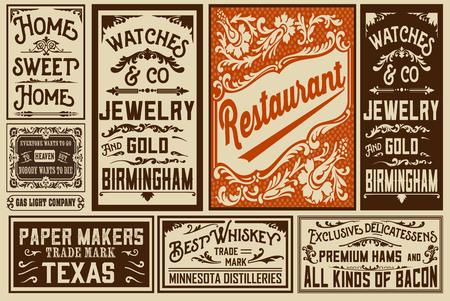 vintage newspaper: Pack old advertisement designs and labels - illustration