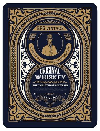 retro grunge: Old Whiskey label with vintage frames Illustration