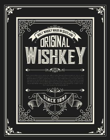 Etichetta Whiskey con i vecchi telai. Vettoriali