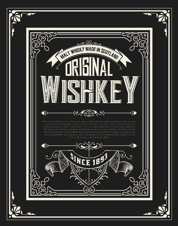 Whiskey label with old frames.
