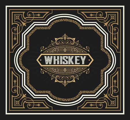 label Whiskey tiré par la main cadre de tableau noir millésime Vecteurs