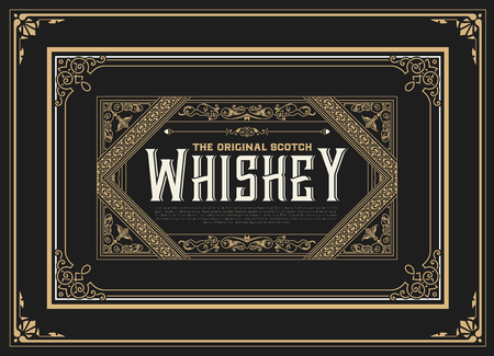 vintage banner: Old  label design for Whiskey and Wine label, Restaurant banner, Beer label.